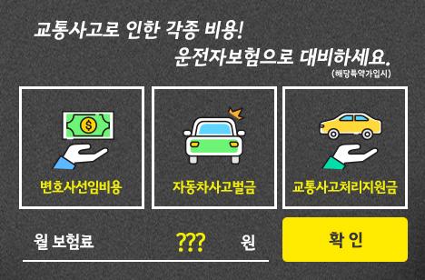 교통사고로 인한 각종 비용! 운전자보험으로 대비하세요.